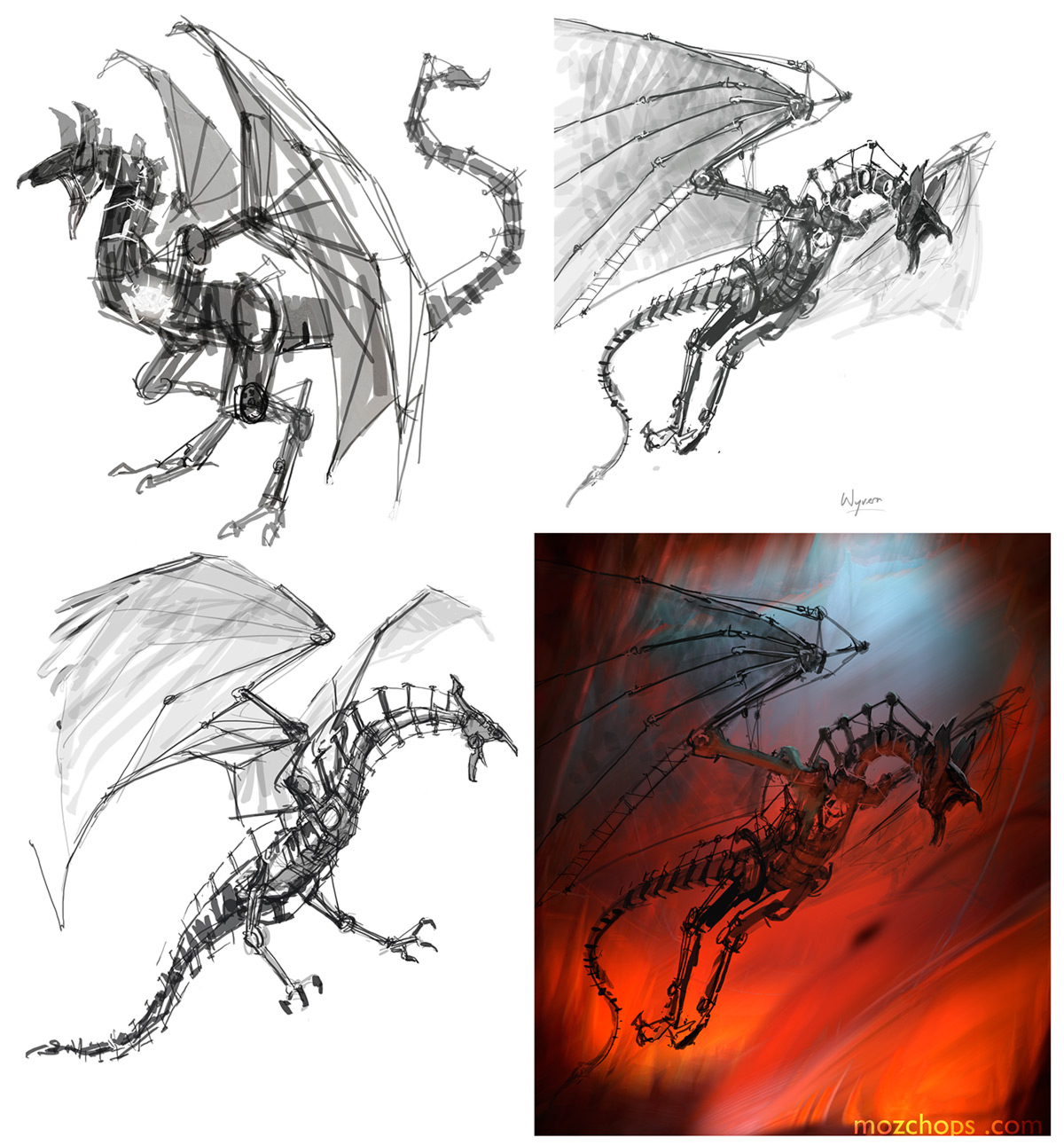mechanical-wyvern-sketches-combined